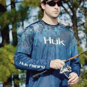 Huk Men's Kryptek Fade Icon Long Sleeve Crew Blue